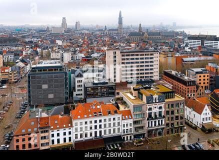 Cityscape of Antwerp (Belgium), Facades and Skyline - Stock Photo
