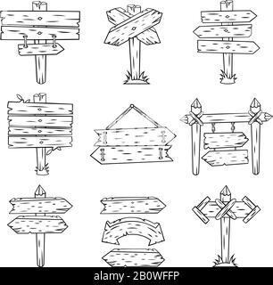 Doodle wood signs. Hand drawn wooden signpost and arrows sketch. Retro street road sign post showing direction isolated vector set - Stock Photo