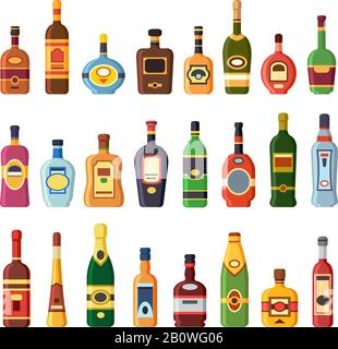 Alcohol bottles. Alcoholic liquor drink bottle with vodka, cognac and liqueur. Whisky, rum or brandy liquors isolated flat icons set - Stock Photo