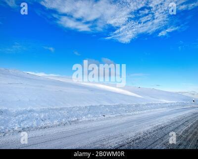 Winter landscape at Wernberg-Köblitz, Upper Palatinate, Bavaria, Germany, Europe - Stock Photo
