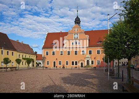 Market with town hall in Belgern, Belgern-Schildau, Landkreis Nordsachsen, Saxony, Germany - Stock Photo