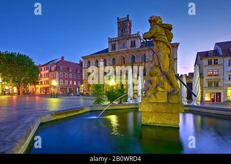 Market with town hall and Neptune Fountain, Weimar, Thuringia, Germany, Europe - Stock Photo
