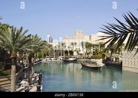 historically, Souk Madinat, Jumeirah, Emirate of Dubai, United Arab Emirates, Arabian Peninsula, Middle East, - Stock Photo