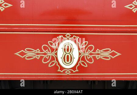 Close-up of historic tram number 8, Lisbon, Portugal, - Stock Photo