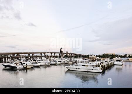 Deep sea fishing yachts in the marina, fishing boats, Bayside Marketplace Resort, Biscayne Boulevard, Miami Downtown, Florida, USA, - Stock Photo