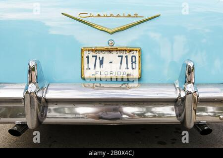 Rear view, Chevrolet Bel Air, built in 1957, fifties, classic American car, Ocean Drive, Miami South Beach, Art Deco District, Florida, USA, - Stock Photo