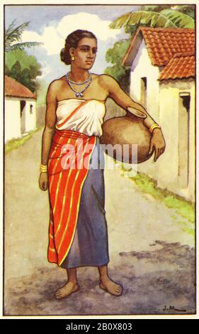 illustration of a young woman from Kandy in Sri Lanka, or Ceylon as it was then known, from a set of school posters used for social studies, c 1930 - Stock Photo