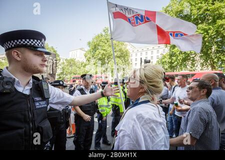 FILE: London, UK. 21st February, 2020. File Image (26-05-2018): British Nationalist Sherri Peach, married to former National Front election candidate, Roy Peach. BBC Question Time has been criticised for inviting the extreme anti-immigration views of Sherri Peach, who spoke uninterrupted for 82 seconds during Question Time's broadcast from Weymouth 20-02-2020. Peach has attended numerous nationalist gatherings and shown support for Tommy Robinson and James Goddard. Seen here attending a 'Free Tommy' protest near Downing Street 26-05-2018. Credit: Guy Corbishley/Alamy Live News