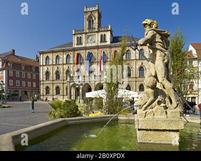 Market with town hall and Neptune fountain, Weimar, Thuringia, Germany, - Stock Photo