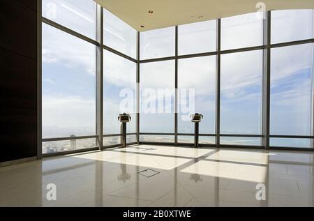 Highest viewing platform in the world, At the Top in Burj Khalifa, Dubai, United Arab Emirates, Stock Photo