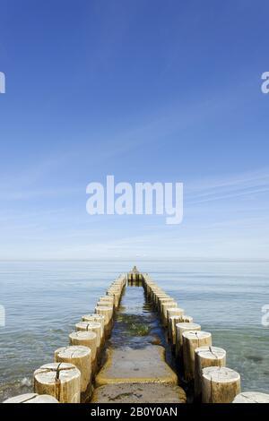 Groynes on the coast of Ahrenshoop, Fischland-Darss-Zingst, Germany, - Stock Photo