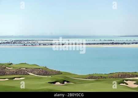 Golf course on Yas Island, Abu Dhabi, United Arab Emirates, - Stock Photo