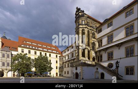 Courtyard of Hartenfels Castle with Grossem Wendelstein, Torgau, Saxony, Germany, - Stock Photo