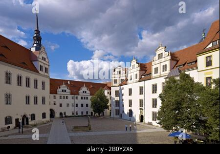 Courtyard of Hartenfels Castle, Torgau, Saxony, Germany, - Stock Photo