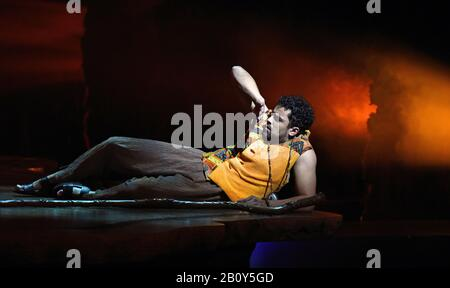 London, UK. 21st Feb, 2020. Luke Brady in a scene from 'Prince of Egypt' play at the Dominion Theatre, Tottenham Court Road in London. Credit: SOPA Images Limited/Alamy Live News - Stock Photo