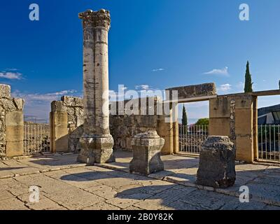 White synagogue in Capernaum on the Sea of Galilee, Israel, - Stock Photo