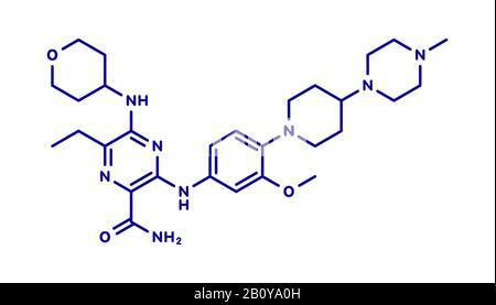 Gilteritinib cancer drug molecule, illustration - Stock Photo