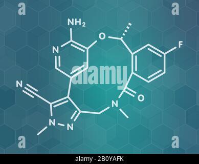 Lorlatinib cancer drug molecule, illustration - Stock Photo