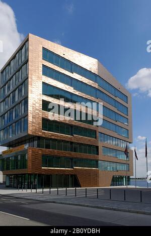 Modern, urban architecture, copper-colored facade, Große Elbstrasse, Neumühlen, Mitte district, Hamburg, Germany, - Stock Photo