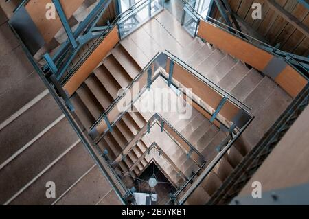 Stairs from the Rennsteigwarte observation tower on the Eselsberg, Masserberg, Hildburghausen district, Thuringia, Germany, - Stock Photo