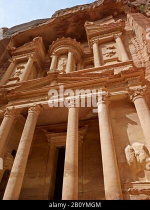 The Treasury or the Khazne in the rock city of Petra, Jordan, Middle East, - Stock Photo