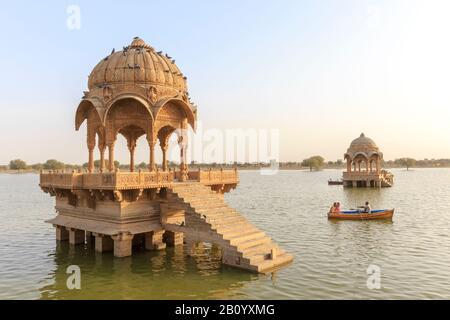 Gadisar Lake, Gadi Sagar, Jaisalmer, Rajasthan, India - Stock Photo