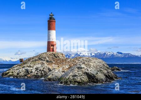 The Faro Les Eclaireurs, lighthouse on an uninhabited island in the Beagle Channel, Tierra del Fuego, Argentina, South America - Stock Photo