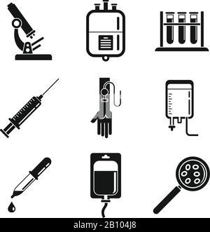 Blood transfusion aid icons set. Simple set of blood transfusion aid vector icons for web design on white background - Stock Photo