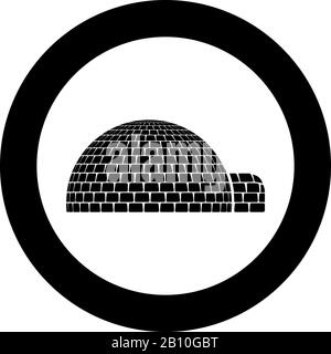 Igloo dwelling with icy cubes blocks Place when live inuits and eskimos Arctic home Dome shape icon in circle round black color vector illustration - Stock Photo