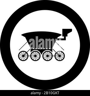 Moon rover Mars explorer Space machine Planets vehicle icon in circle round black color vector illustration flat style simple image - Stock Photo