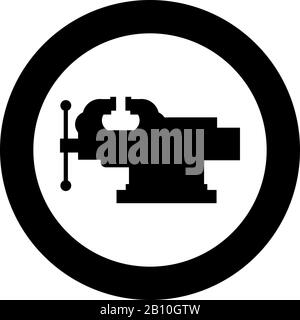 Vice Jaw vise Repair clamp tool icon in circle round black color vector illustration flat style simple image - Stock Photo
