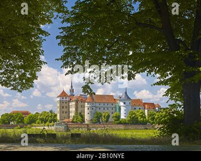 Hartenfels Castle on the Elbe in Torgau, Saxony, Germany - Stock Photo