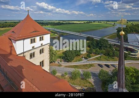 View of the Elbe from Hartenfels Castle in Torgau, Saxony, Germany - Stock Photo