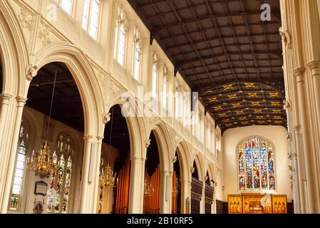 Interior of Saint Margaret's Church showing ceiling and nave, Westminster, London, United Kingdom - Stock Photo
