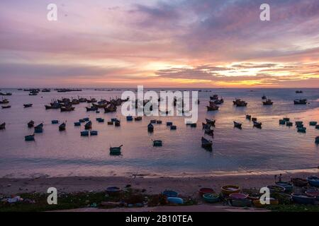 Sunset in the port of Mui Ne, Binh Thuan province, Vietnam, Asia - Stock Photo