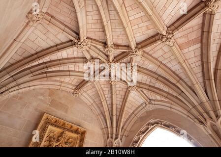 Carved ribbed stone ceiling in the porch of Saint Margaret's Church, Westminster, London, United Kingdom - Stock Photo