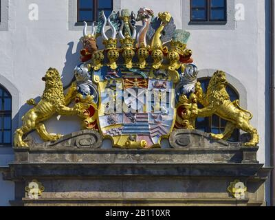 Coat of arms at the entrance to Hartenfels Castle, Torgau, Saxony, Germany - Stock Photo