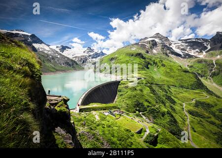 Mooserboden reservoir with Moosersperre, Hohe Tauern, Kaprun, Salzburg State, Austria - Stock Photo
