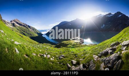 Mooserboden reservoir and waterfall floor with Moosersperre, Hohe Tauern, Kaprun, Salzburg State, Austria - Stock Photo