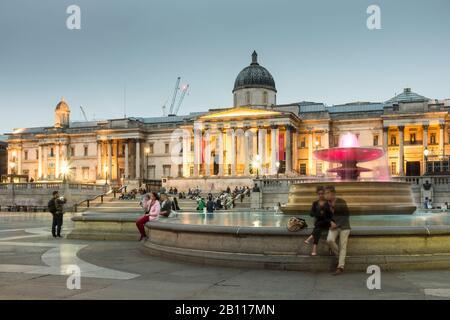 National Gallery in Trafalgar Square, London, UK - Stock Photo