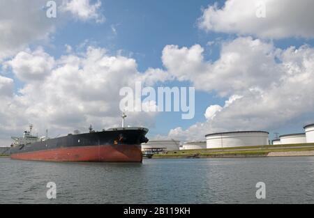 Oil tanker moored at storage terminal