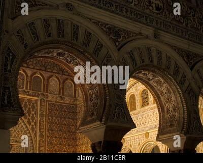Hall of Ambassadors in Reales Alcazares. Seville. Andalusia. Spain - Stock Photo