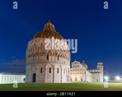 Baptistery, Cathedral of Santa Maria Assunta and Campanile, Leaning Tower of Pisa, Piazza del Duomo, Pisa, Tuscany, Italy - Stock Photo