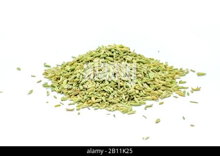 fennel seeds loose on a white background - Stock Photo