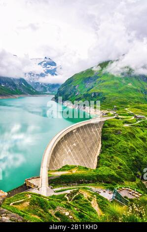 Hydropower station at high mountains. Dam in Kaprun on Mooserboden reservoir - Stock Photo