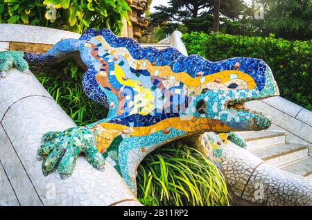 Multicolored mosaic salamander at Park Guell in Barcelona city