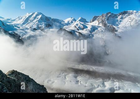 View of the Monte Rosa massif and the Gorner Glacier, Valais Alps, Switzerland - Stock Photo