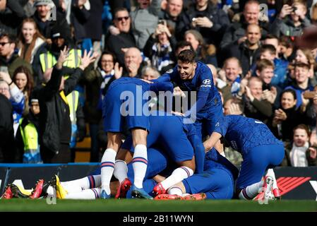 London, UK. 22nd Feb, 2020. during the Premier League London Derby match between Chelsea and Tottenham Hotspur at Stamford Bridge Stadium in London, Britain on Feb. 22, 2020. Credit: Han Yan/Xinhua/Alamy Live News - Stock Photo
