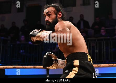 Bethnal Green, United Kingdom. 21st Feb, 2020. Inder Bassi Singh Preliminary bout 3. MTK Golden contract boxing semi finals. York Hall. Bethnal Green. London. UK. Credit Garry Bowden/Sport in Pictures/Alamy Live News. Credit: Sport In Pictures/Alamy Live News - Stock Photo