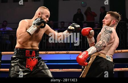 Bethnal Green, United Kingdom. 21st Feb, 2020. Ryan Hibbert (right) and Burim Ahmeti. Preliminary bout 1. MTK Golden contract boxing semi finals. York Hall. Bethnal Green. London. UK. Credit Garry Bowden/Sport in Pictures/Alamy Live News. Credit: Sport In Pictures/Alamy Live News - Stock Photo